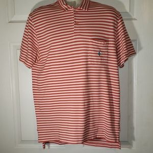 Polo RL L mens orange & white striped polo shirt